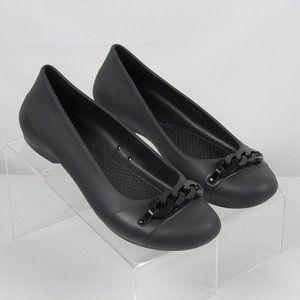 Crocs Gianna Flat Charcoal Black Slip On Flats 9M